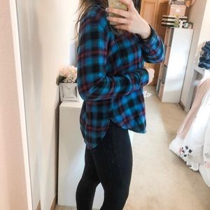 American Eagle Blue and Red Plaid Flannel